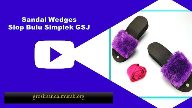 grosirsandalmurah.org - Wedges - Wedges Slop Bulu GSJ