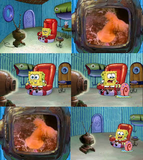Polosan meme spongebob dan patrick 7 - Spongebob menonton anemon laut di tv