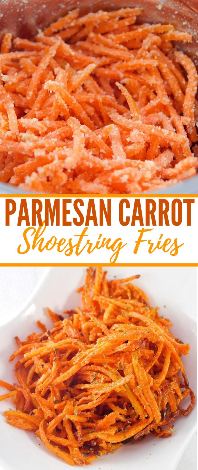 Parmesan Carrot Shoestring Fries #vegetarian #snacks