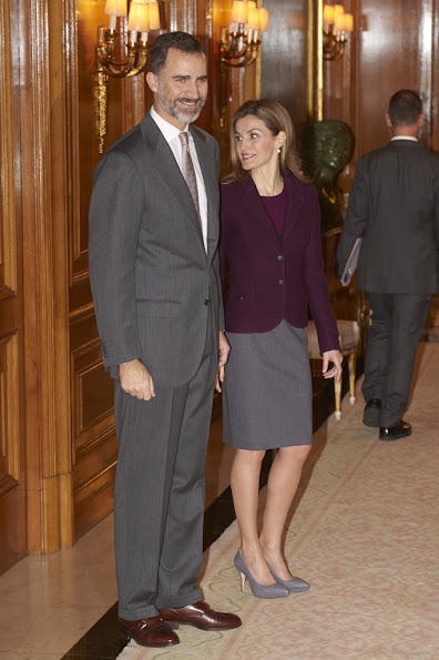 Spanish Royals attends a meeting with members of the Royal Theatre Foundation