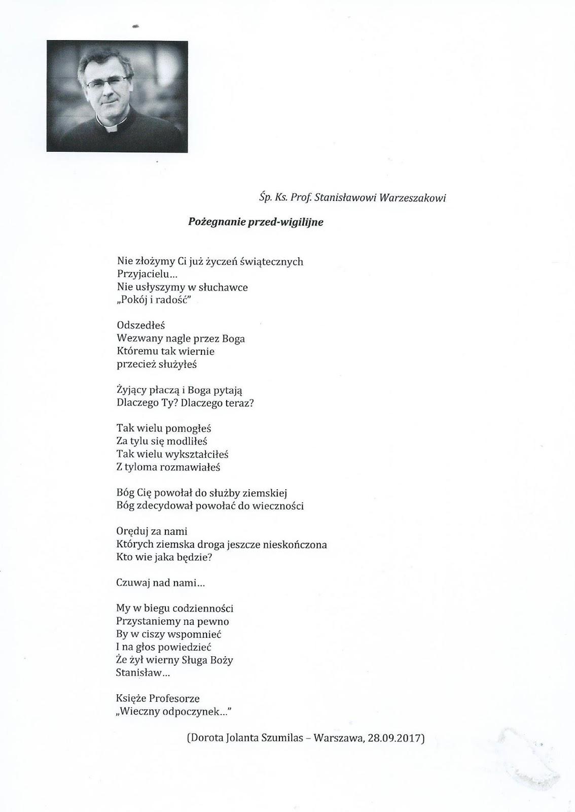 Dorota Jolanta Szumilas Wiersz Pamięci Ks Prof Stanisława