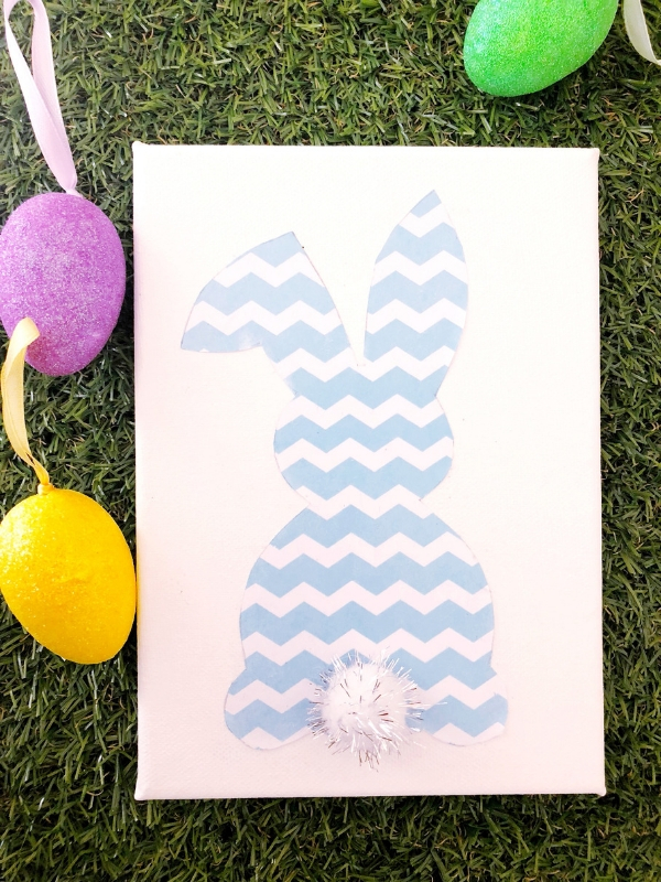 DIY Pom Pom Canvas Bunny & free printable chevron digital paper set: An easy spring project perfect for your Easter decorations and gifts | Ioanna's Notebook