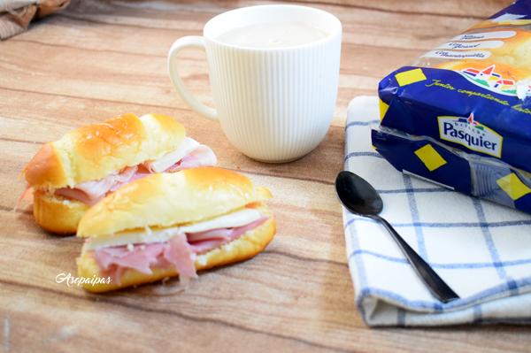 Pan de leche con Jamón Cocido y Queso Fresco. Vídeo Receta