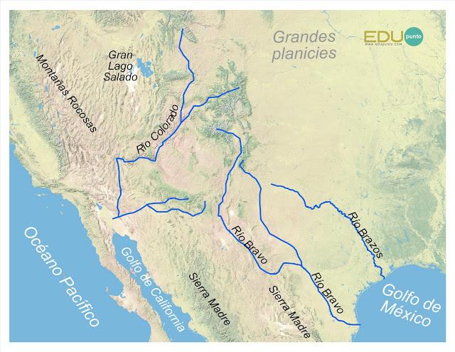 hidrografia, america del norte, norteamerica, rio, cuenca, AMERICA,colorado, bravo, grande, brazos