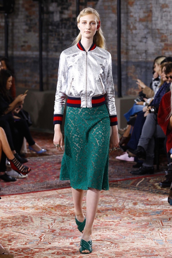 Resort 2016 Gucci Crackle Leather Bomber Jacket on Runway