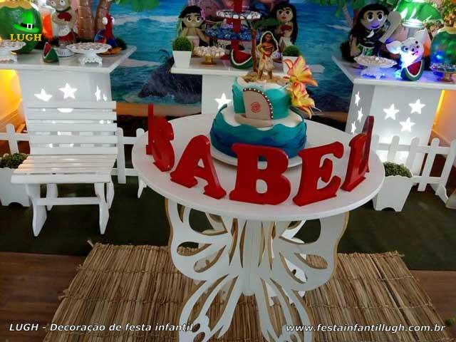 Mesa decorada tema Moana - Festa de aniversário infantil