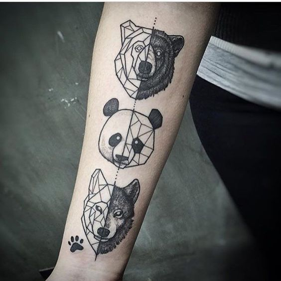 Wolf and Panda Tattoo on Wrist