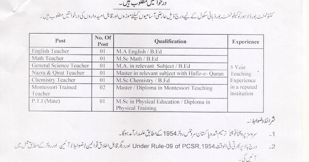 Lahore Cantonment Board Teaching Jobs 2019 CB High School