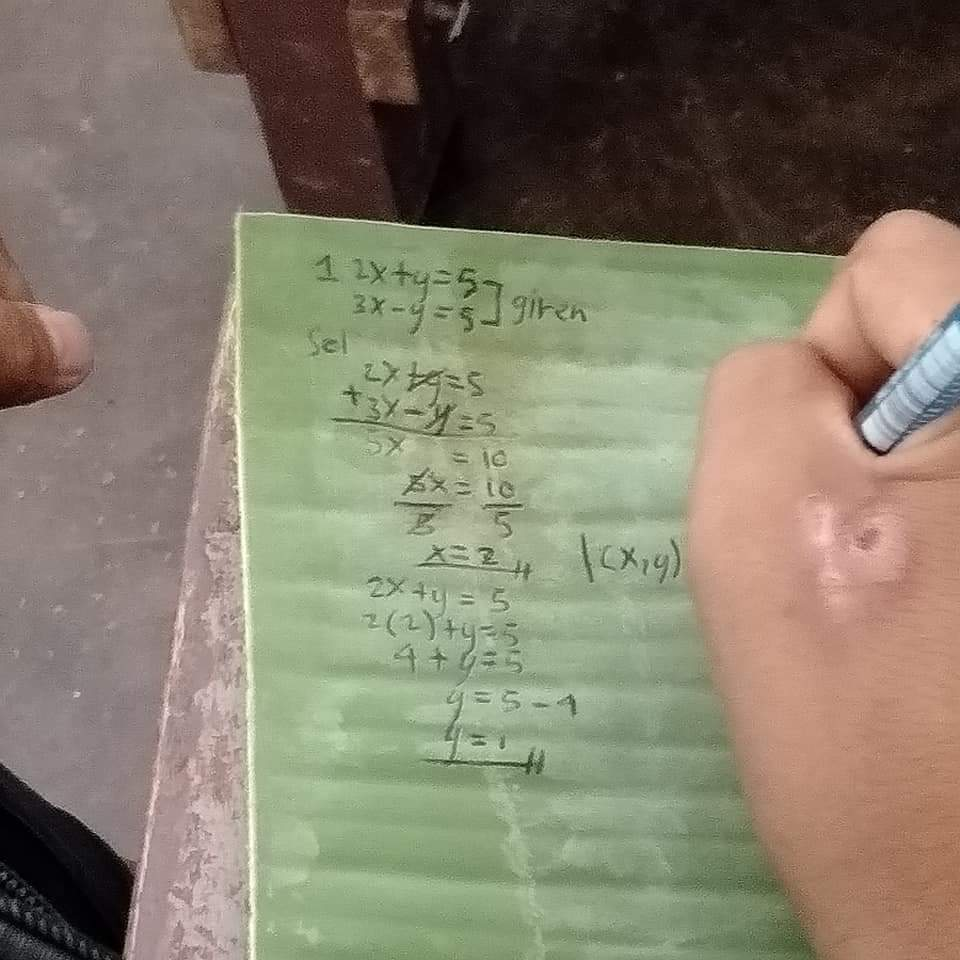 Student uses banana leaf as notebook