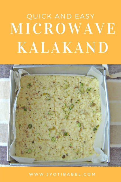 Kalakand is an Indian soft milk fudge sweet dish. Find my recipe for a quick and easy microwave Kalakand recipe here on www.jyotibabel.com