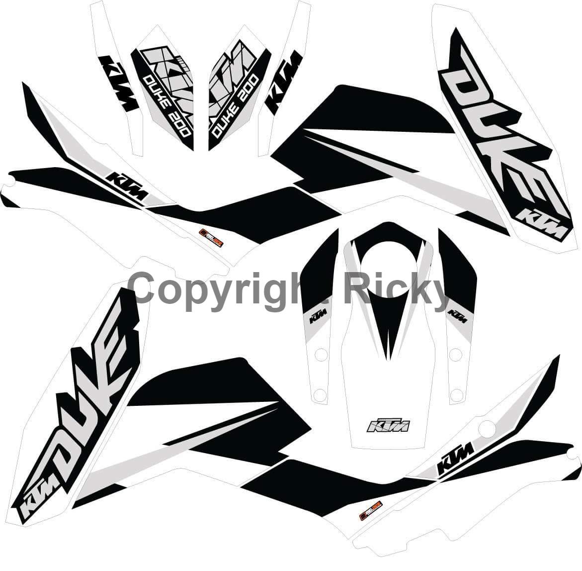 New custom design graphics ktm duke 125 200 390 naked bike vinyl decals sticker