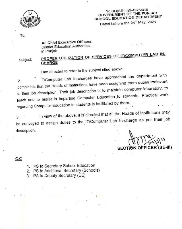 PROPER UTILIZATION OF SERVICES OF IT / COMPUTER LAB IN-CHARGE IN SCHOOLS