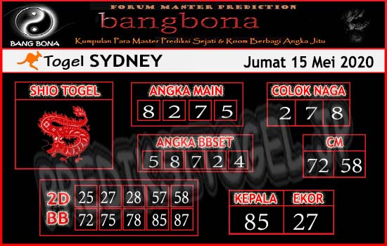 Prediksi Togel Sydney Jumat 15 Mei 2020 - Bang Bona
