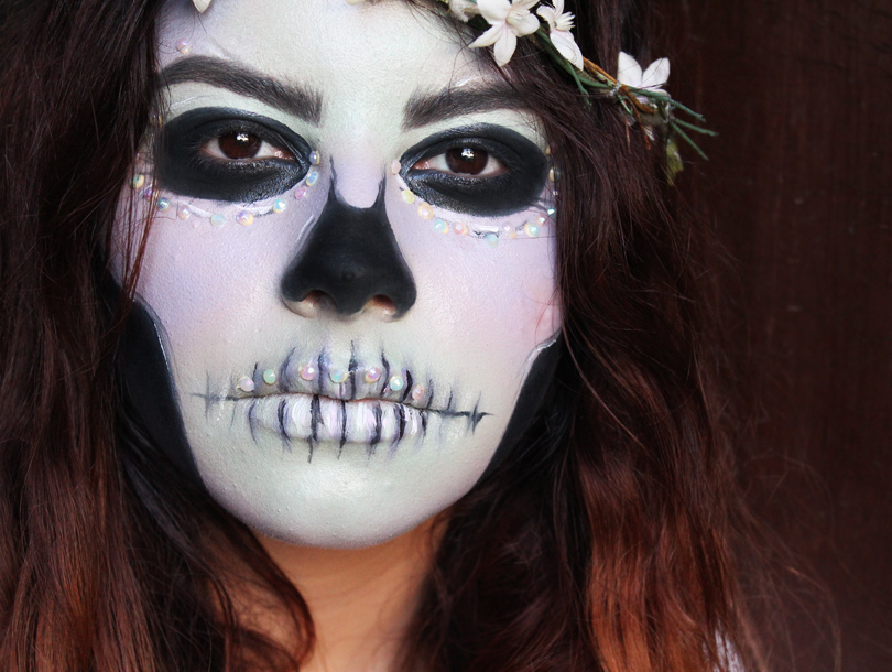 easy last minute makeup only cheap halloween costume tutorial ideas pastel mint green lilac purple skull