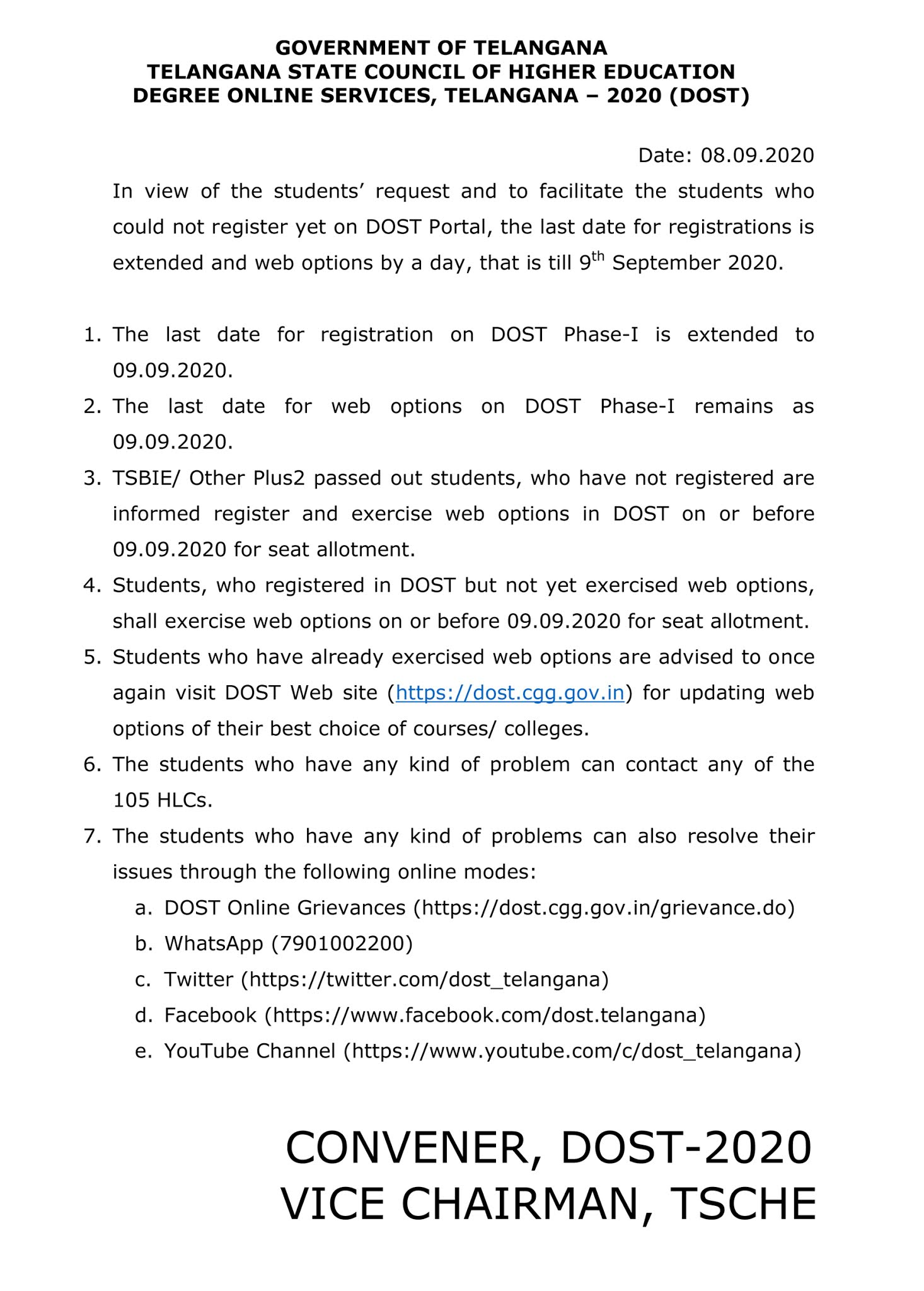 DOST Phase 1 Last Date Registration & Web Option Extended Notification