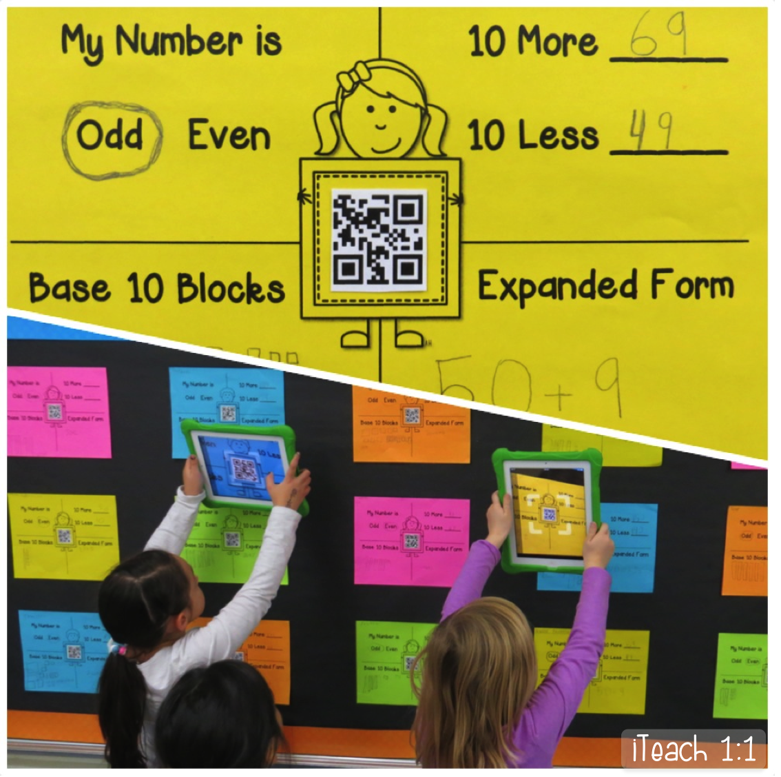 FREE template for mystery number interactive QR code bulletin board. Looking for fun activities for teaching place value math? My 2nd grade students love coming up to the board with the iPads to solve and check each one another's mystery numbers. Such a fun way to integrate technology and QR codes in the elementary classroom!