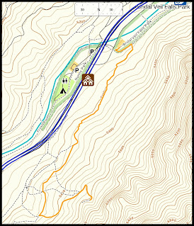 Orange line is the trail I took to waterfall.