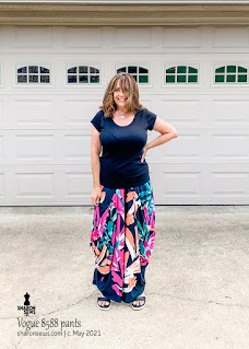 Vogue 8588 Side Drape Pants with Big Pockets in Floral Knit worn by Sharon Sews