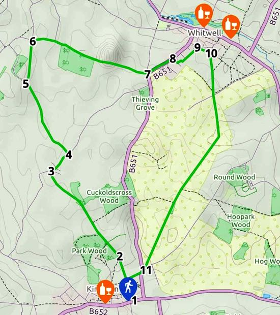 Map for Walk 82: Kimpton N Short Loop  Created on Map Hub by Hertfordshire Walker  Elements © Thunderforest © OpenStreetMap contributors  Note: There is a larger, more detailed map embedded at the end of these directions