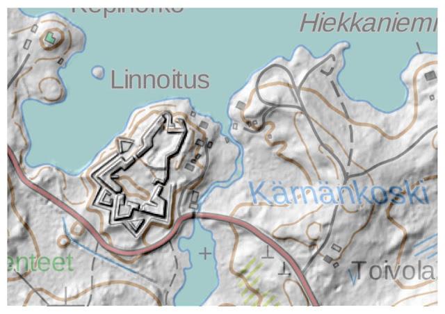 Kartta, jossa on Kärnäkosken linnoituksen korkeusmalli.