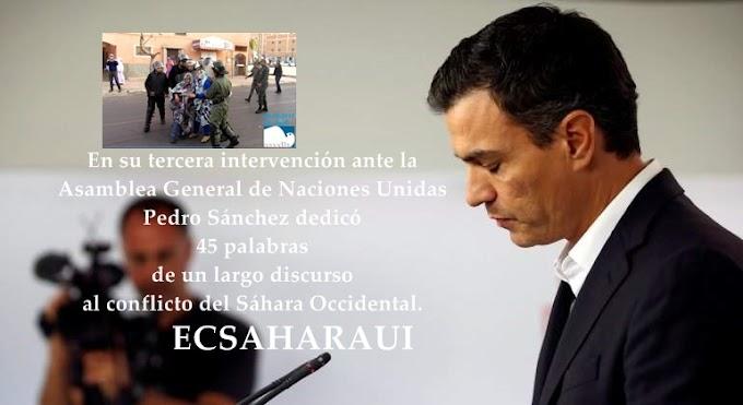 Pedro Sánchez silencia en NNUU el derecho del pueblo saharaui a la autodeterminación