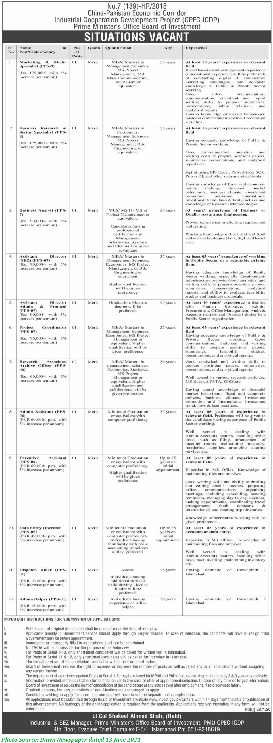 CPEC Jobs 2021 - Industries Cooperation Development Project CPEC Jobs 2021 Apply Online 2021