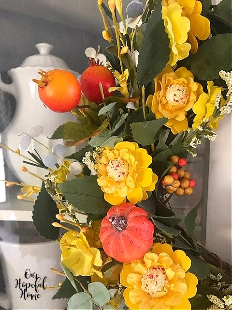 pumpkin pomegranate yellow flower wreath