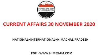 Daily Current Affairs  30 November 2020