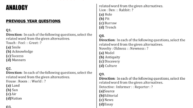 1000 Analogy (Reasoning) Questions Asked in SSC Exams PDF Download