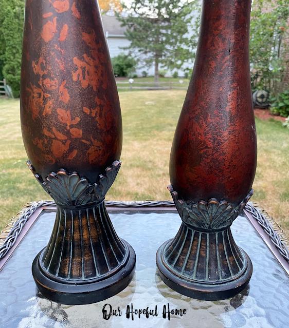 verdigris details candle holder