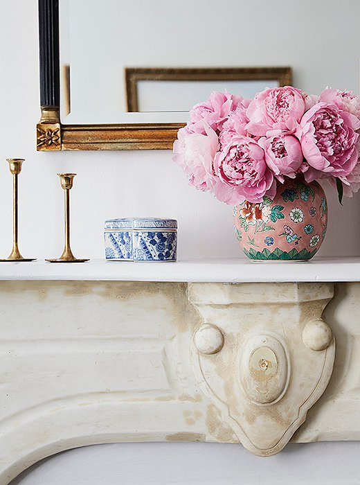 peonies, brass candlesticks and chinoiserie ceramics