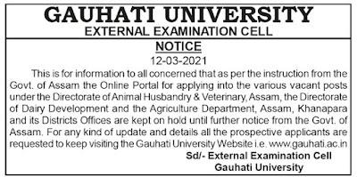 Gauhati University Notification