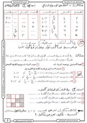 مذكرة رياضيات للصف السادس الإبتدائي الترم الأول لعام 2021