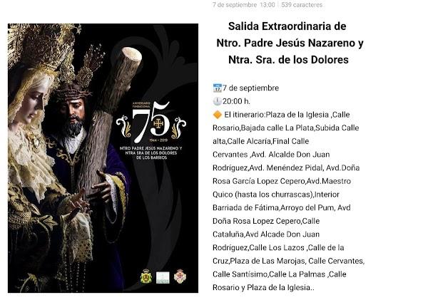 Horario e Itinerario Salida Extraordinaria con motivo del 75 aniversario fundacional de la Hermandad del Nazareno de Los Barios (Cádiz)
