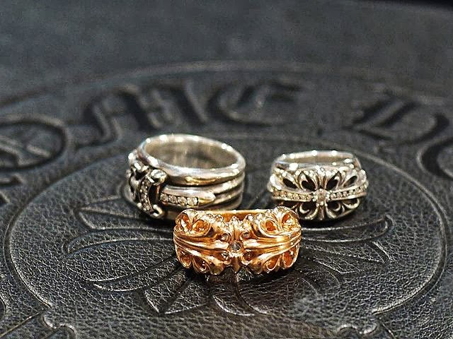 39cd160b271 Amazing display of Chrome Hearts Rings here! Dagger Ring Pave Diamond   Chrome  Hearts K T Ring 22K Gold   Floral Cross Ring Pave Diamond.