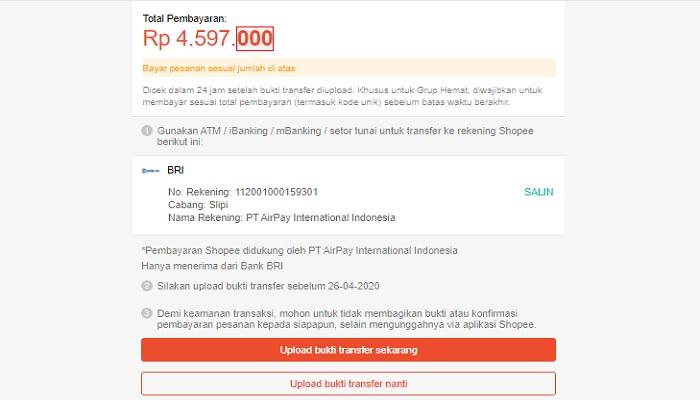 Metode pembayaran BANK BRI belanja di shopee