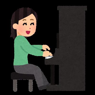 アップライトピアノを弾く人のイラスト(女性)