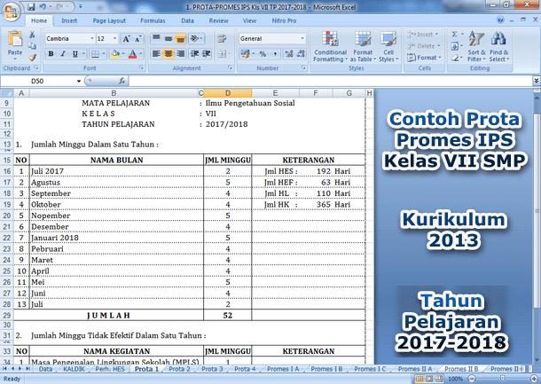 Contoh Prota Promes IPS SMP Kelas VII Kurikulum 2013 Tahun 2017-2018