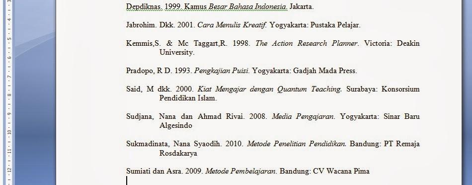 Menulis Daftar Pustaka Pelajaran Bahasa Indonesia Di Jari Kamu