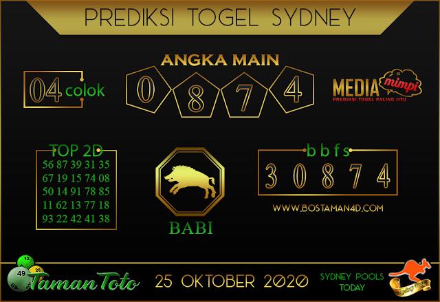 Prediksi Togel SYDNEY TAMAN TOTO 25 OKTOBER 2020