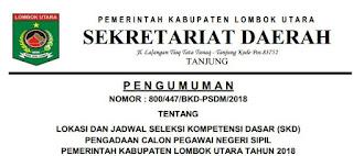 Jadwal Tes SKD CPNS Kabupaten Lombok Utara