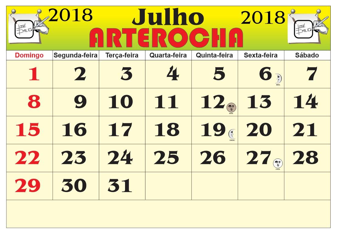 Resultado de imagem para calendario arterocha julho 2018