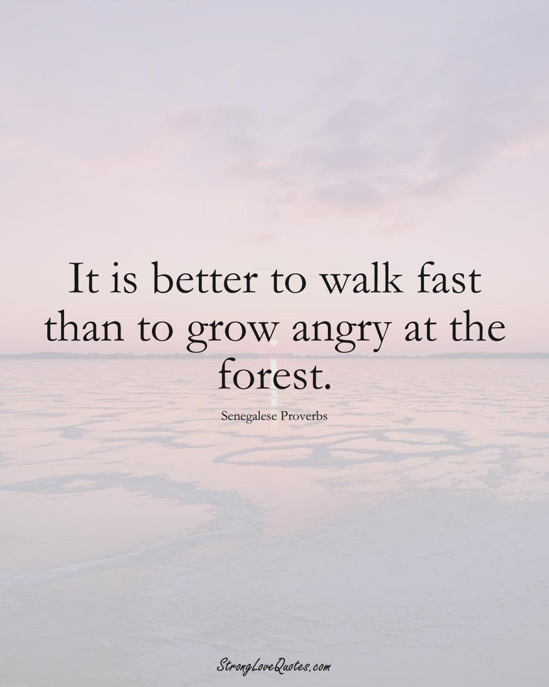 It is better to walk fast than to grow angry at the forest. (Senegalese Sayings);  #AfricanSayings
