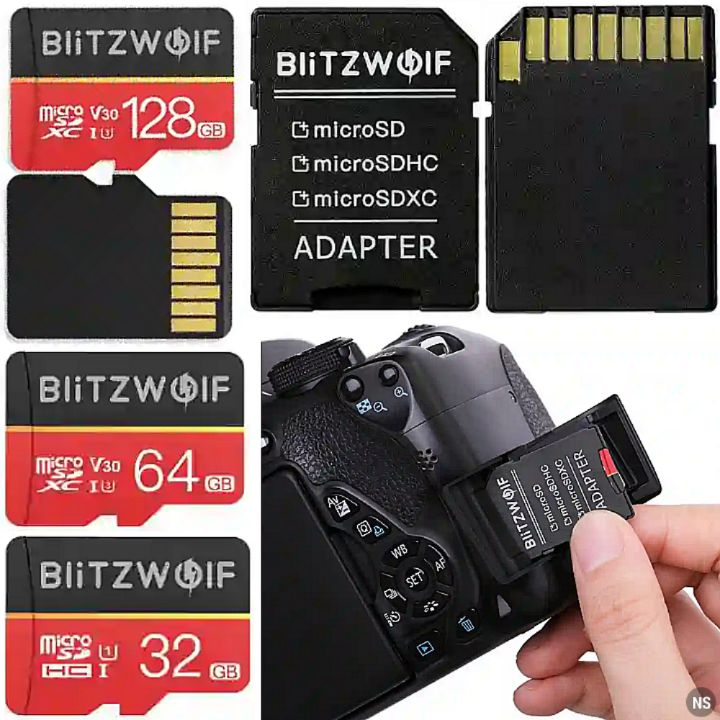 Blitzwolf Memory Cards: 32GB, 64GB or 128GB Micro SD TF Card with Adapter SDHC/SDXC Converter