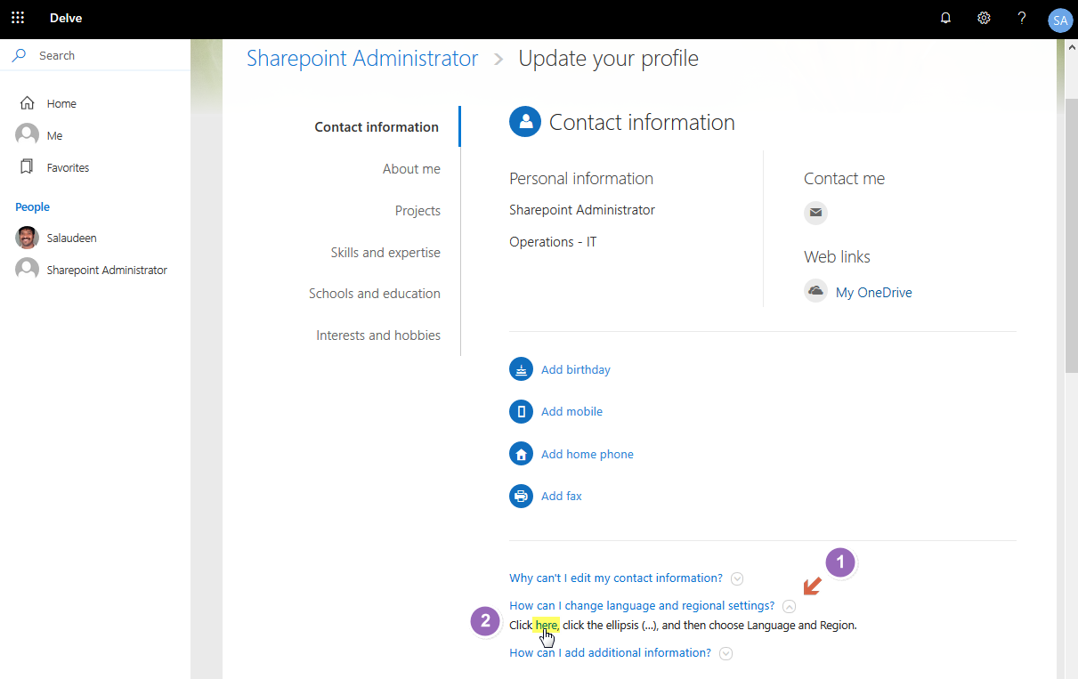 sharepoint online change language on site