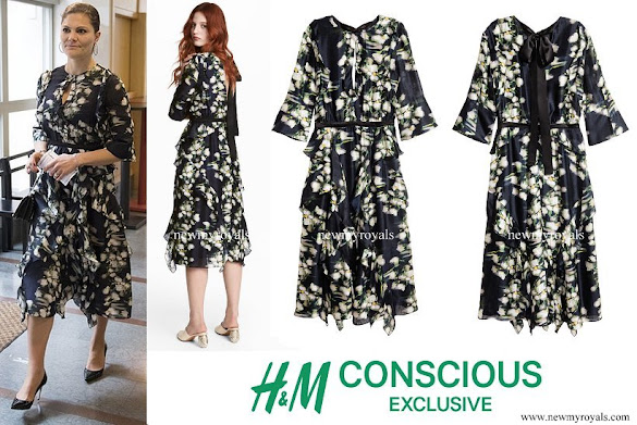 Crown Princess Victoria wore H&M Patterned Silk Dress from Conscious Exclusive Collection