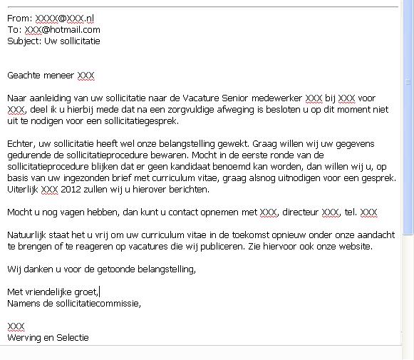 afwijzing sollicitatie brief Afwijzing Sollicitatie Brief | gantinova