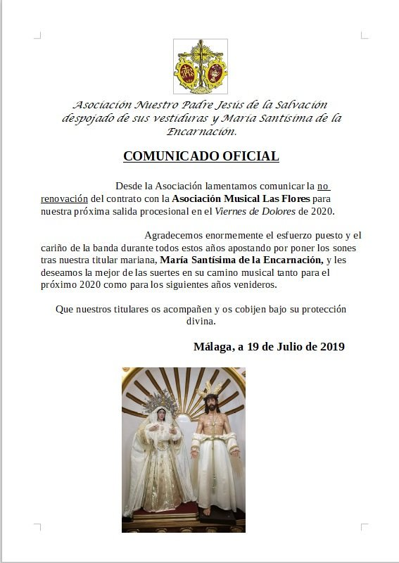 La Asociación del Despojado de Málaga informa la no renovación con la Asociación Musical de las Flores para 2020.