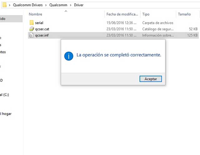 instalación drivers Qualcomm en windows 10